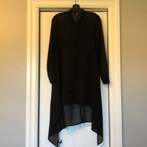 Sheer Tunic with Asymmetrical Hem